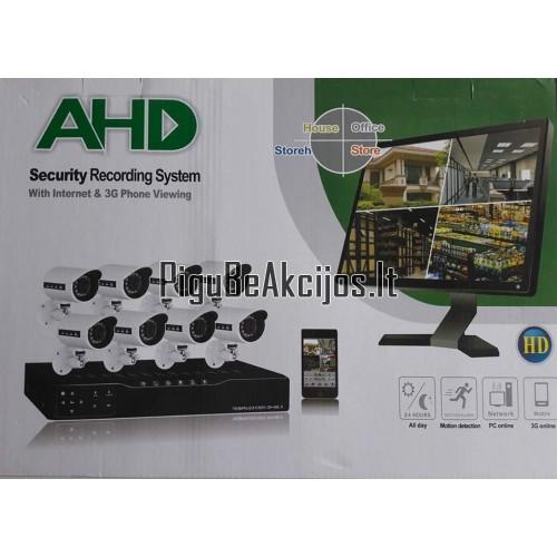 IP Stebėjimo vaizdo kameros AHD 5G 6vnt su įrašymu į kietajį diską ir stebėjimu online